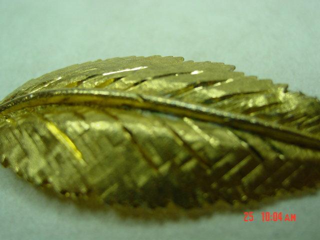 BSK Goldtone Leaf Brooch