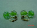Richelieu Green Plastic Clip Earrings