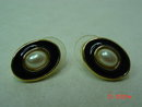 Richelieu Oval Goldtone Black Enamel Faux Pearl Pierced Earrings