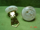 White & Copper Art Glass Clip Earrings Signed Italy