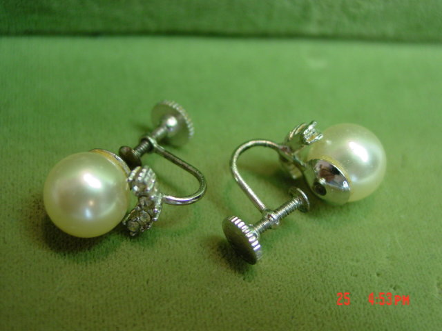 Marvella Faux Pearl Rhinestone Screwback Clip Earrings
