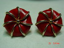 Marvella Goldtone Red Enamel Clip Earrings