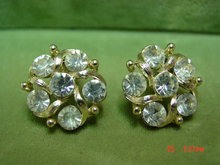 Lisner Clear Rhinestone Clip Earrings