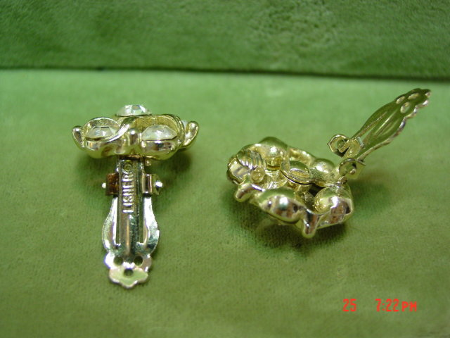 Lisner Clear Rhinestone Clip Earrings