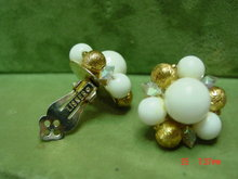 Lisner Gold & White Bead Clip Earrings