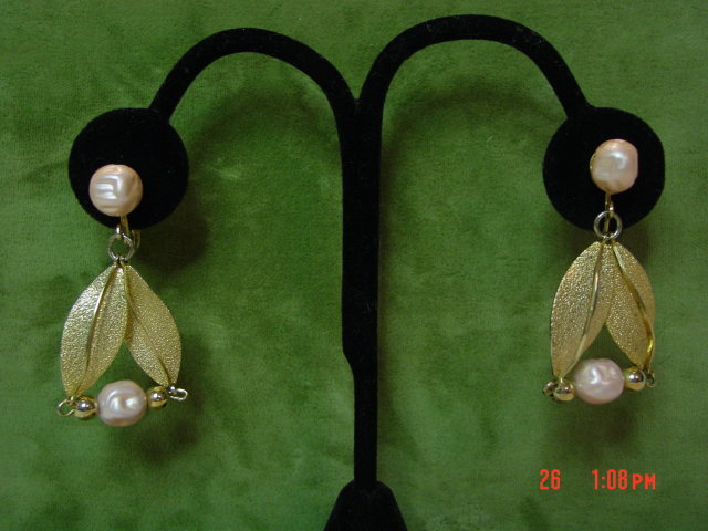 Coro Pink Bead Dangling Clip Earrings