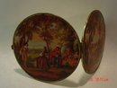 Large Double Compact Mirror with Colonial Scene