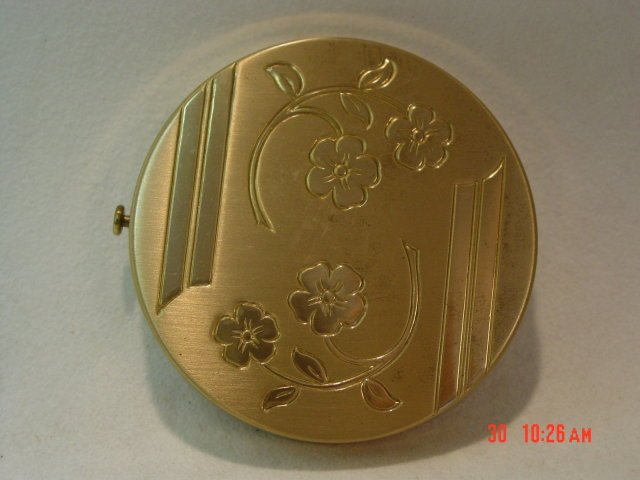 Brass Powder Compact Inlaid Flowers