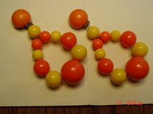 Yellow & Orange Bead Clip Earrings