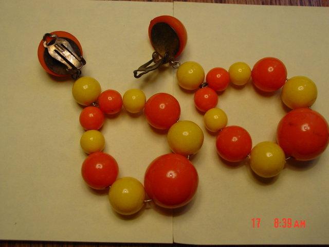 Yellow & Orange Bead Clip Earrings