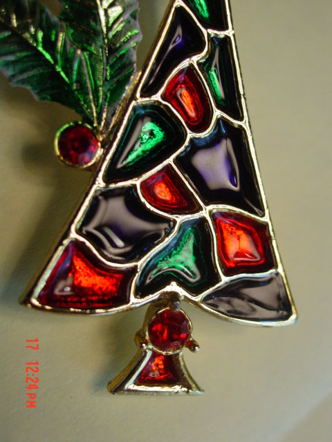 Vintage B.J. Christmas tree pin