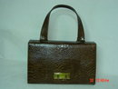Triangle New York Brown Reptile Handbag Purse
