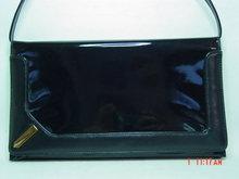 Vintage Black Vinyl Accordian Envelope Clutch Purse
