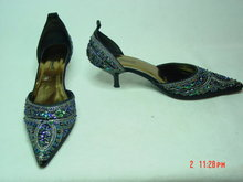 Size 7 Black Satin Sequined Mules Shoes by Anne Michelle