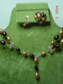 Hong Kong Two Strand Brown Beaded Necklace & Button Clip Earrings