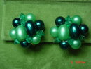 Hong Kong Two Strand Green Beaded Necklace & Button Clip Earrings