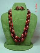 Hong Kong Two Strand Cherry Beaded Necklace & Button Clip Earrings