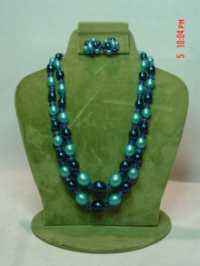 Hong Kong Two Strand Blue Beaded Necklace & Button Clip Earrings