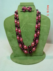 Hong Kong Two Strand Pink Beaded Necklace & Button Clip Earrings