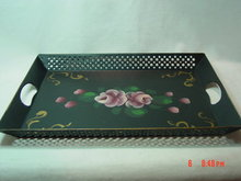 Black Tole Painted Metal Tray