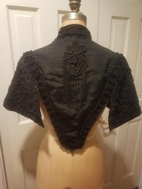 Antique Victorian Black Silk Jet Black Beaded Mourning Mantle Cape Collar Shawl