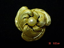 Gold Flower Cultured Pearl Boucher Signed Numbered Pin
