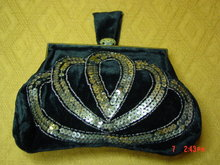 Antique Black Velvet Sequined Evening Bag Purse