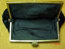 Antique Black Velvet Sequined Evening Bag Purse