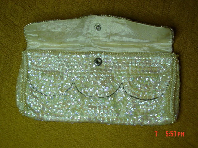 La Regale Japan Off White Sequin Evening Bag Clutch