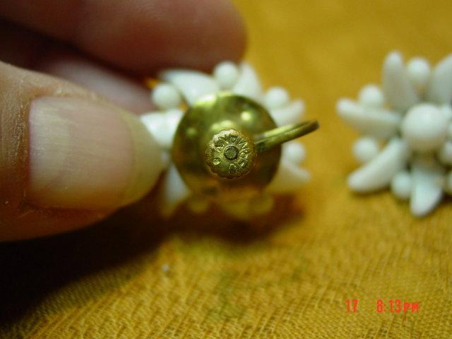 Vintage Germany Milk Glass Screwback Earrings