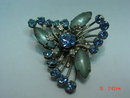 Vintage Beau Jewels Blue Rhinestone Brooch Pin