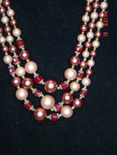 Gorgeous 3 Strand Cranberry & Rose Bead Necklace & Clip Earrings Japan