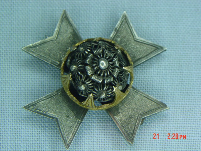 Antique Formee Banchee Rhodian Maltese Cross Brooch Pin