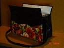 Vintage Black Patent Leather Vinyl Carryall Tote Purse
