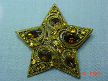 Gold Five Point Star Rhinestone Brooch