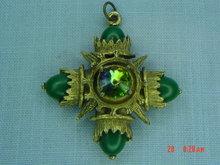 Ornate Goldtone Square Cross Pendant