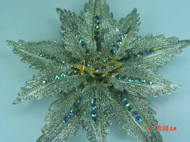 ORA Swarovski Rhinestone Masonic Shriners Rhodium Plated Flower Brooch Pin