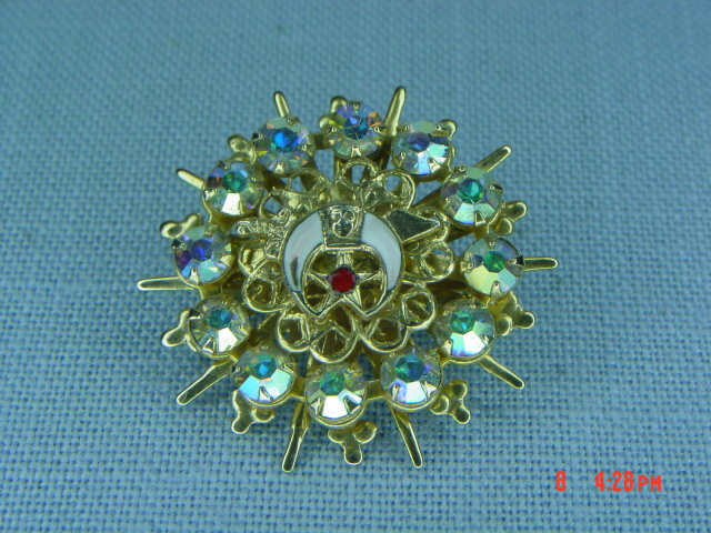Vintage AB Rhinestone Shriner Pin