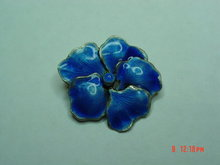 Antique Sterling Blue Enamel Pansy Pin
