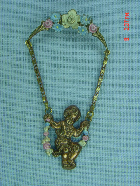 Antique Copper Child on Swing Pin