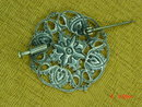 Round Silver Art Nouveau Filigree Pin