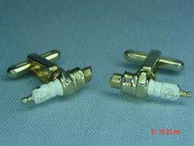 Vintage Hickok Goldtone Spark Plug Cufflinks