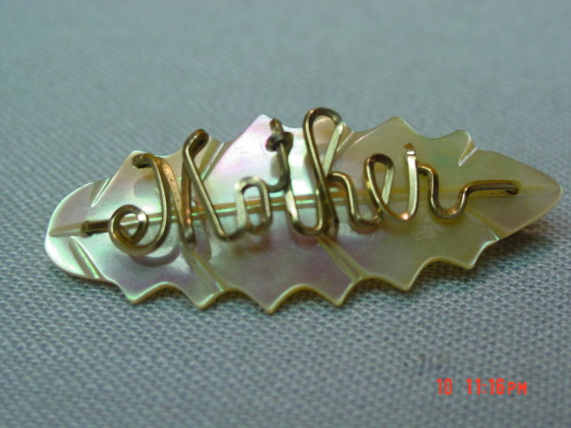 Vintage MOP Gold Wire Mother Pin