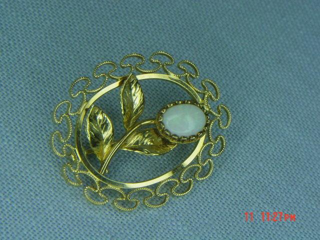 14K G.F. Oval Opal Flower Pin