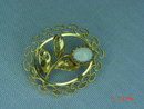 14K G.F. Oval Opal Flower Pin