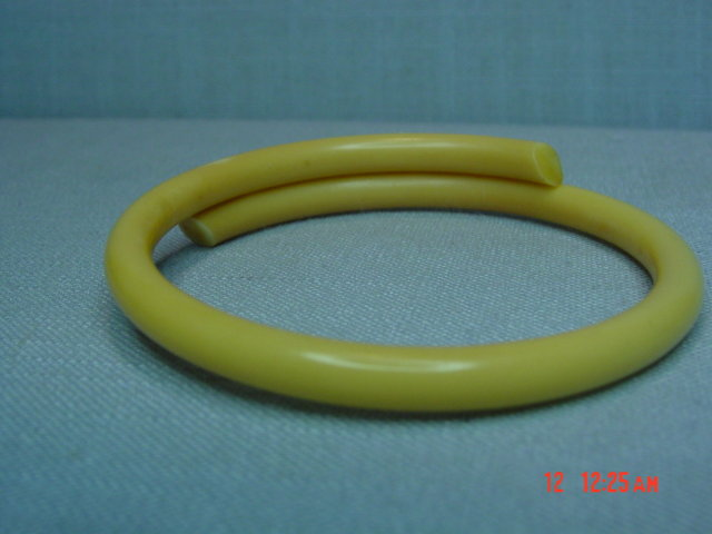 Vintage Creamy Celluloid Rhinestone Bangle Bracelet