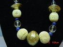 Vintage Ethnic Brass Lapis Crystal Carved Bone Bead Necklace