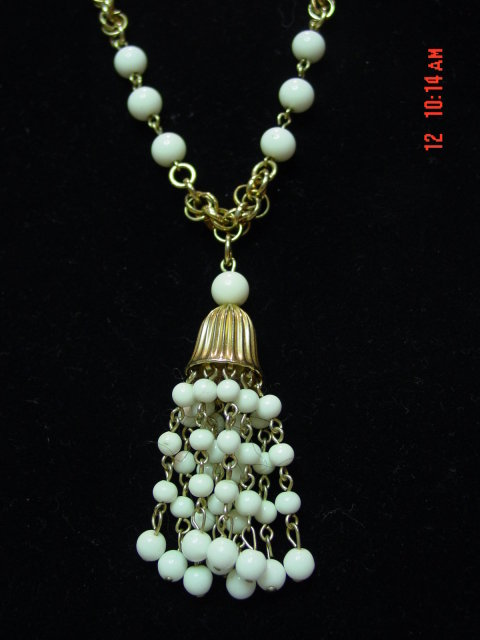 Vintage Goldtone Chain Milk Glass Bead Tassel Necklace