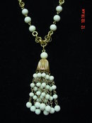 Vintage Goldtone Chain Milk Glass Bead Tassel Necklace