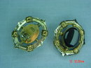 1950's IXEL Mexico Black Glass Clip Earrings